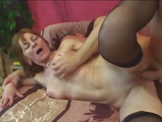 Busty granny playing with fat dick