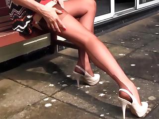 Milf Nylon Jane walking teasing in sexy pair of nylon stockings suspender belt with tall stilettos