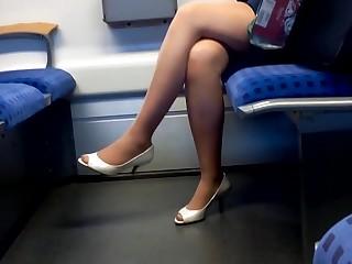 hot nylon legs with peep