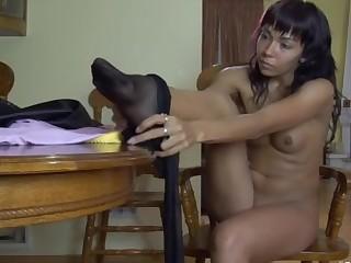 Margo modeling in pantyhose