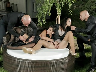 Ferrera and Gabrielle Start an Outdoor Orgy with Both of Their Dates
