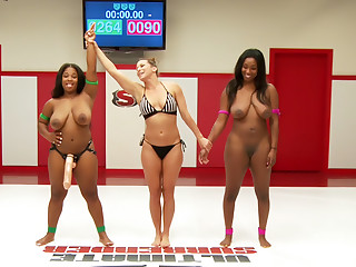Two Big Tit Big Ass Ebony Goddesses Sex fight. Winner fucks Loser