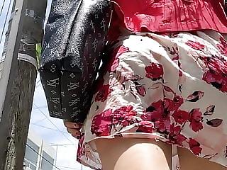 Brunette Skirt Booty . Ass Walking 1