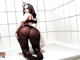 Tiny Teen Sucking Dick Boyfriend in Pantyhose
