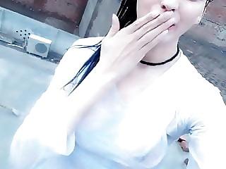 cute girl naked bath on roof tiktok video